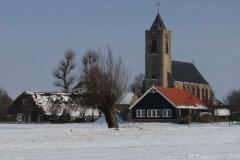 kerk in de sneeuw m gebouw _6779 Hoornaar-Marjolein